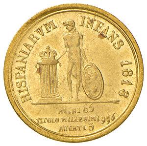 reverse: Napoli. Ferdinando I di Borbone (1816-1825). Da 3 ducati 1818 AV. Pagani 80. P.R. –. MIR –. Variante molto rara con punto dopo REX al dritto. Molto rara. q.SPL/SPL