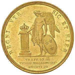 reverse: Napoli. Ferdinando II di Borbone (1830-1859). Da 30 ducati 1847 AV. Pagani 137. P.R. 8. MIR 486/2. Molto rara. Impercettibili segnetti da contatto al dr., altrimenti  ottimo esemplare con fondi lucenti e q.FDC