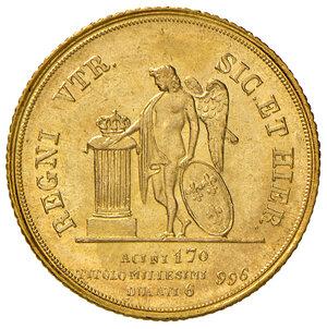 reverse: Napoli. Ferdinando II di Borbone (1830-1859). Da 6 ducati 1840 AV. Pagani 162. P.R. 29. MIR 493. Rara. q.FDC
