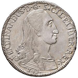 obverse: Palermo. Ferdinando III di Borbone (1759-1816). Da 12 tarì 1796 (sigla Nd-OV; Nicola d'Orgemont Vigevi zecchiere, 1793-1798) AG gr. 27,18. Spahr 20. MIR 603/1. Fondi lucenti, SPL