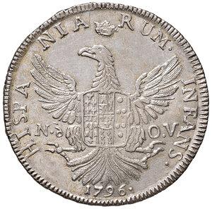 reverse: Palermo. Ferdinando III di Borbone (1759-1816). Da 12 tarì 1796 (sigla Nd-OV; Nicola d'Orgemont Vigevi zecchiere, 1793-1798) AG gr. 27,18. Spahr 20. MIR 603/1. Fondi lucenti, SPL