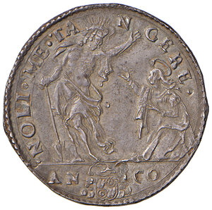 reverse: Ancona. Gregorio XIII (1572-1585). Testone 1581 AG gr. 9,41. Muntoni 201. Berman 1213. Dubbini-Mancinelli pag. 152 (4° tipo). MIR 1211/1. Raro. Conservazione da ritenersi eccezionale per  il tipo di moneta, più di SPL