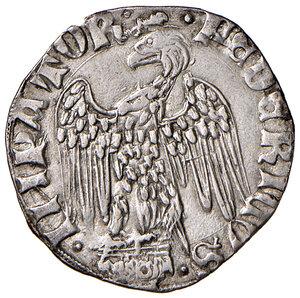 obverse: Pisa. Repubblica. Emissioni a nome di Federico II (1313-1406). Grossone da 6 soldi (segno: ramo d'alloro) AG gr. 2,45. CNI 50/51. MIR 422/4 (segno 45). Molto raro. q.SPL