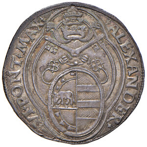 """obverse: Roma. Alessandro VI (1492-1503). Doppio grosso AG gr. 6,55. Muntoni 15. Berman 531. MIR 521. Conio di Pier Maria Serbaldi da Pescia, detto """"il Tagliacarne"""". Molto raro. Bella patina di medagliere, SPL"""