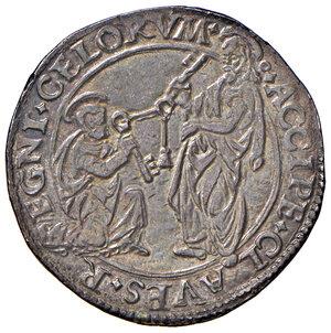 """reverse: Roma. Alessandro VI (1492-1503). Doppio grosso AG gr. 6,55. Muntoni 15. Berman 531. MIR 521. Conio di Pier Maria Serbaldi da Pescia, detto """"il Tagliacarne"""". Molto raro. Bella patina di medagliere, SPL"""