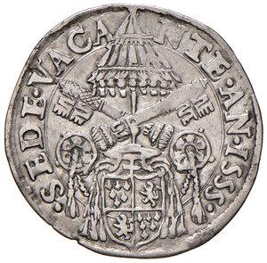 obverse: Roma. Sede Vacante 1555 (Camerlengo card. Guido Ascanio Sforza). Giulio 1555 AG gr. 2,85. Muntoni 2. Berman 1030. MIR 1013/2. Raro. BB
