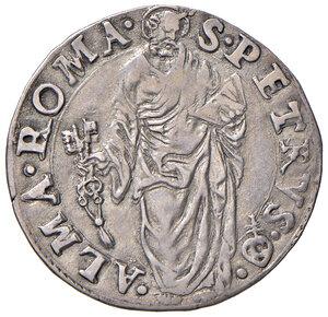 reverse: Roma. Sede Vacante 1555 (Camerlengo card. Guido Ascanio Sforza). Giulio 1555 (data con lettera V al posto dell'ultima cifra 5) AG gr. 2,80. Muntoni 2 var. I. Berman 1030. MIR 1013/1. Raro. Buon BB