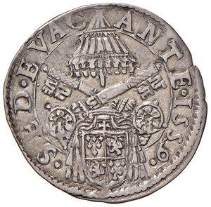 obverse: Roma. Sede Vacante 1559 (Camerlengo card. Guido Ascanio Sforza). Giulio 1559 AG gr. 2,99. Muntoni 5. Berman 1059. MIR 1047/1. Raro. Buon BB/BB