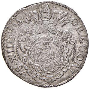 obverse: Roma. Gregorio XIII (1572-1585). Testone AG gr. 9,43. Muntoni 23. Berman 1149. MIR 1130/2. Raro. Leggermente mosso di conio al dr., altrimenti q.SPL