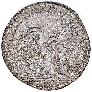 reverse: Roma. Gregorio XIII (1572-1585). Testone AG gr. 9,43. Muntoni 23. Berman 1149. MIR 1130/2. Raro. Leggermente mosso di conio al dr., altrimenti q.SPL