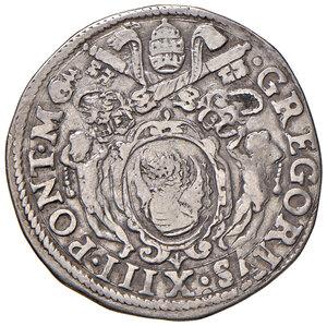 obverse: Roma. Gregorio XIII (1572-1585). Testone AG gr. 9,39. Muntoni 74. Berman 1174. MIR 1122/1. Molto raro. BB