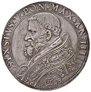 obverse: Roma. Sisto V (1585-1590). Piastra 1588 anno IV AG gr. 31,17. Muntoni 7. Berman 1313. MIR 1324/1. Molto rara. Taglio rifilato, altrimenti bell'esemplare. q.SPL 2.500