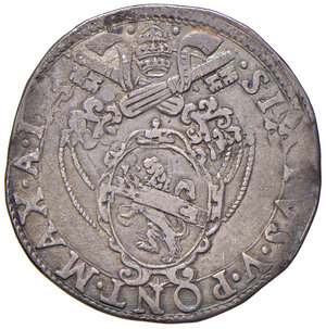 obverse: Roma. Sisto V (1585-1590). Testone anno I AG gr. 9,39. Muntoni 10. Berman 1315. MIR 1301/1. Raro. Buon BB