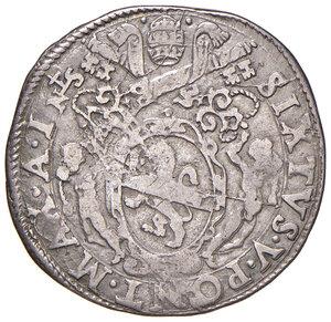 obverse: Roma. Sisto V (1585-1590). Testone anno I AG gr. 9,35. Muntoni 30. Berman 1327. MIR 1309/1. BB