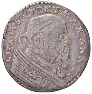 obverse: Roma. Sisto V (1585-1590). Testone anno II AG gr. 9,19. Muntoni 32. Berman 1325. MIR 1326/1. Ex asta Artemide 14 aprile 2007, 1025. Molto raro. q.BB