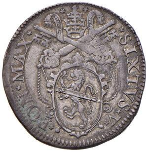 obverse: Roma. Sisto V (1585-1590). Testone 1588 AG gr. 9,55. Muntoni 47. Berman 1329. MIR 1327/1. Raro. Patina di medagliere. Tipo di moneta difficilmente reperibile in questo stato di conservazione, SPL