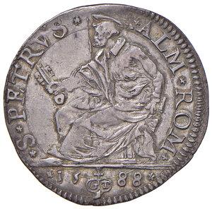 reverse: Roma. Sisto V (1585-1590). Testone 1588 AG gr. 9,55. Muntoni 47. Berman 1329. MIR 1327/1. Raro. Patina di medagliere. Tipo di moneta difficilmente reperibile in questo stato di conservazione, SPL