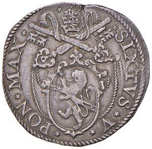 obverse: Roma. Sisto V (1585-1590). Testone AG gr. 9,58. Muntoni 19. Berman 1320. MIR 1329/1. Di ottima qualità per il tipo, migliore di BB