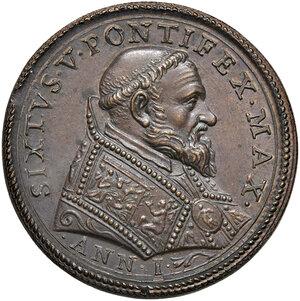 obverse: Roma. Sisto V (1585-1590). Medaglia anno I (1585) AE gr. 13,95 diam. 29,8 mm. Opus Gianfederico Bonzagni. Per l'elezione al pontificato. CNORP IV, 817. Coniazione postuma. SPL