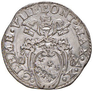 obverse: Roma. Clemente VIII (1592-1605). Testone anno santo 1600/X AG gr. 9,40. Muntoni 13. Berman 1440. MIR 1459/6. q.SPL