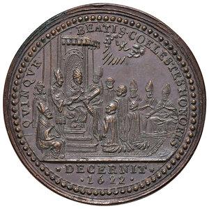 reverse: Roma. Gregorio XV (1621-1623). Medaglia anno III/1623 AE gr. 24,02 diam. 35,5 mm. Opus Giovanni Antonio Moro. Per le canonizzazioni del 1622. Mazio 181. Coniazione postuma. FDC