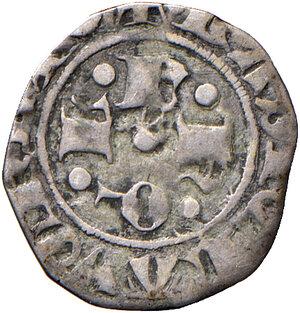 obverse: L'Aquila. Ladislao di Durazzo (1388-1414). Bolognino AG gr. 0,67. CNI –. D.A. –. MIR –. Questo bolognino presenta le lettere disposte a croce al dritto in maniera invertita, da formare la sequenza AAQL. Rarissimo. BB
