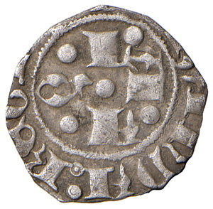 obverse: L'Aquila. Giovanna II di Durazzo (1414-1435). Bolognino AG gr. 0,42. CNI –. D.A. 48. MIR –. Come per il precedente, anche questo bolognino ha le lettere disposte a croce al dritto in maniera invertita, da formare la sequenza AAQL. Molto raro. Tosato, BB
