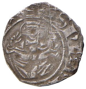 reverse: L'Aquila. Giovanna II di Durazzo (1414-1435). Bolognino AG gr. 0,42. CNI –. D.A. 48. MIR –. Come per il precedente, anche questo bolognino ha le lettere disposte a croce al dritto in maniera invertita, da formare la sequenza AAQL. Molto raro. Tosato, BB