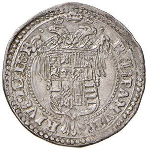reverse: L'Aquila. Carlo V d'Asburgo (1519-1556). Tarì AG gr. 6,20. D.A. – (cfr. 146, ma legenda del rov. diversa). MIR 117. Raro. Di notevole qualità per il tipo, SPL