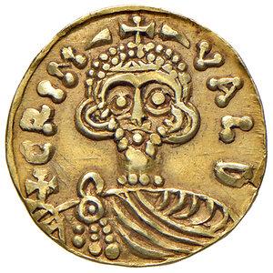 obverse: Benevento. Grimoaldo III principe (788-806). Emissioni con Carlo Magno (788-792). Solido AV gr. 3,68. CNI 3. MEC 14, –. MIR 186. Estremamente raro. Segnetti sul bordo, altrimenti q.SPL