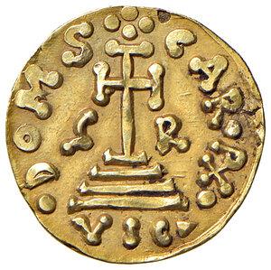 reverse: Benevento. Grimoaldo III principe (788-806). Emissioni con Carlo Magno (788-792). Solido AV gr. 3,68. CNI 3. MEC 14, –. MIR 186. Estremamente raro. Segnetti sul bordo, altrimenti q.SPL