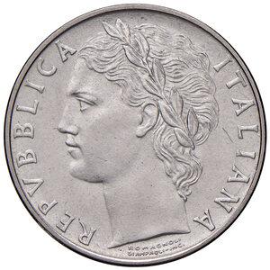 obverse: Repubblica Italiana (dal 1946). Da 100 lire 1955 AC. Pagani 2151. Rara. Impercettibile segnetto nel campo al dr., altrimenti FDC