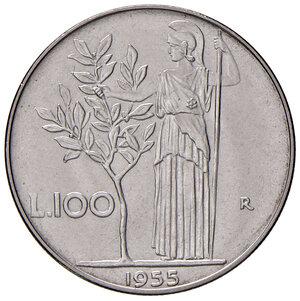 reverse: Repubblica Italiana (dal 1946). Da 100 lire 1955 AC. Pagani 2151. Rara. Impercettibile segnetto nel campo al dr., altrimenti FDC