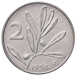 reverse: Repubblica Italiana (dal 1946). Da 2 lire 1958 IT. Pagani 2411.  Molto rara. SPL