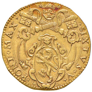 obverse: Bologna. Sisto V (1585-1590). Doppia (armetta card. Peretti, 1587-1590) AV gr. 6,58. Muntoni 92. Berman 1357. Chimienti 386. MIR 1351/2 (questo esemplare illustrato). Molto rara. Migliore di BB/q.SPL
