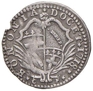 obverse: Bologna. Clemente XI (1700-1721). Carlino 1718 AG gr. 1,60. Muntoni 184a. Berman 2457. Chimienti 661. Molto raro. Buon BB