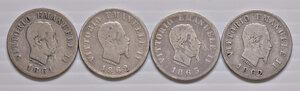 obverse: Savoia. Lotto di quattro monete. Vittorio Emanuele II re d'Italia (1861-1878). Da 50 centesimi 1861 Firenze, 1862 Napoli (2), 1863 Torino AG. Da rare a molto rare. Mediamente MB-q.BB
