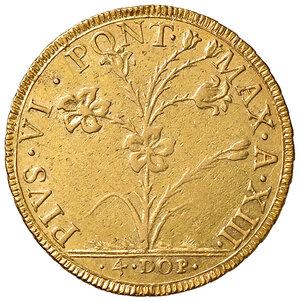 obverse: Bologna. Pio VI (1775-1799). Da 4 doppie 1787 anno XIII AV gr. 21,83. Muntoni 161. Berman 3013. Chimienti 973. Molto rara. Migliore di BB