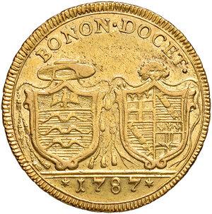 reverse: Bologna. Pio VI (1775-1799). Da 4 doppie 1787 anno XIII AV gr. 21,83. Muntoni 161. Berman 3013. Chimienti 973. Molto rara. Migliore di BB