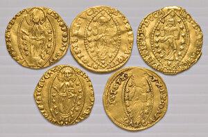 reverse: Venezia. Lotto di cinque monete. Michele Steno (1400-1413), ducato (2). Lorenzo Priuli (1556-1559), zecchino. Domenico Contarini (1659-1675), zecchino. Alvise Contarini (1676-1684), zecchino.  Da q.BB a q.SPL