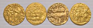 obverse: Venezia. Lotto di quattro monete. Paolo Renier (1779-1789), zecchino. Ludovico Manin (1789-1797), zecchino (3). Da MB a BB