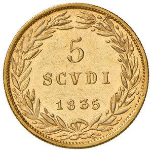 reverse: Bologna. Gregorio XVI (1831-1846). Da 5 scudi 1835 anno V AV. Pagani 137. Chimienti 1280. q.FDC/Migliore di SPL