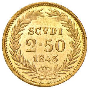 reverse: Bologna. Gregorio XVI (1831-1846). Da 2,50 scudi 1843 anno XIII AV. Pagani 148. Chimienti 1290. Rara. q.FDC