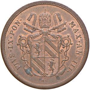 obverse: Bologna. Pio IX (1846-1878). Da 2 baiocchi 1848 anno III CU. Pagani 250. Chimienti 1409.  Raro. Tracce di rame rosso, SPL