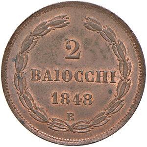 reverse: Bologna. Pio IX (1846-1878). Da 2 baiocchi 1848 anno III CU. Pagani 250. Chimienti 1409.  Raro. Tracce di rame rosso, SPL