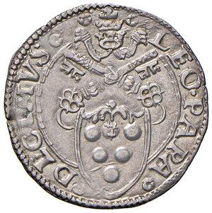 obverse: Ancona. Leone X (1513-1521). Mezzo giulio AG gr. 1,85. Muntoni 81. Berman 676. Dubbini-Mancinelli pag. 109 (5° tipo; questo esemplare illustrato). MIR 683/2. Raro. SPL