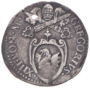 obverse: Fano. Gregorio XIII (1572-1585). Giulio AG gr. 3,00. Muntoni 382. Berman 1263. Ciavaglia 27. MIR 1267/1. Molto raro. Forato, BB