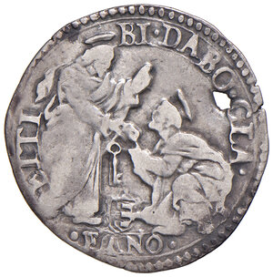 reverse: Fano. Gregorio XIII (1572-1585). Giulio AG gr. 3,00. Muntoni 382. Berman 1263. Ciavaglia 27. MIR 1267/1. Molto raro. Forato, BB