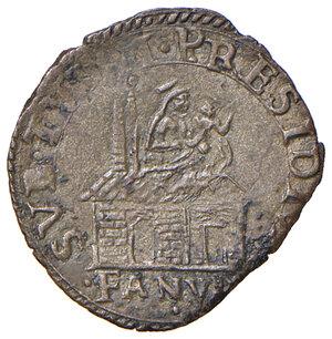 reverse: Fano. Sisto V (1585-1590). Baiocco (sigla A.I; Aloisio Innocenzi zecchiere) MI gr. 1,07. Muntoni 112. Berman 1373. Ciavaglia 43. MIR 1367/2. Buon BB