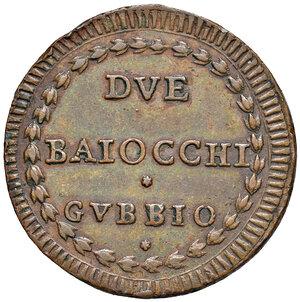 reverse: Gubbio. Pio VI (1775-1799). Baiocco anno XV CU gr. 22,43. Muntoni 355. Berman 3110. Buon BB/q.SPL